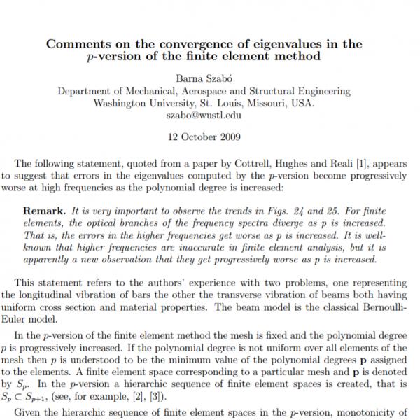 Eigenvalue convergence in the p-version of the FEM   ESRD
