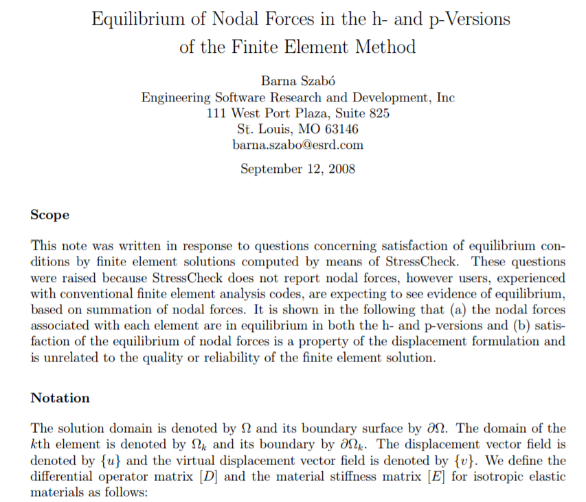 Equilibrium of nodal forces in the h- and p-versions of the